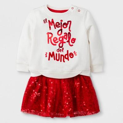 Baby Girls' 2pc Fleece Sweatshirt and Knit Bottoms Set - Cat & Jack™ Red Newborn