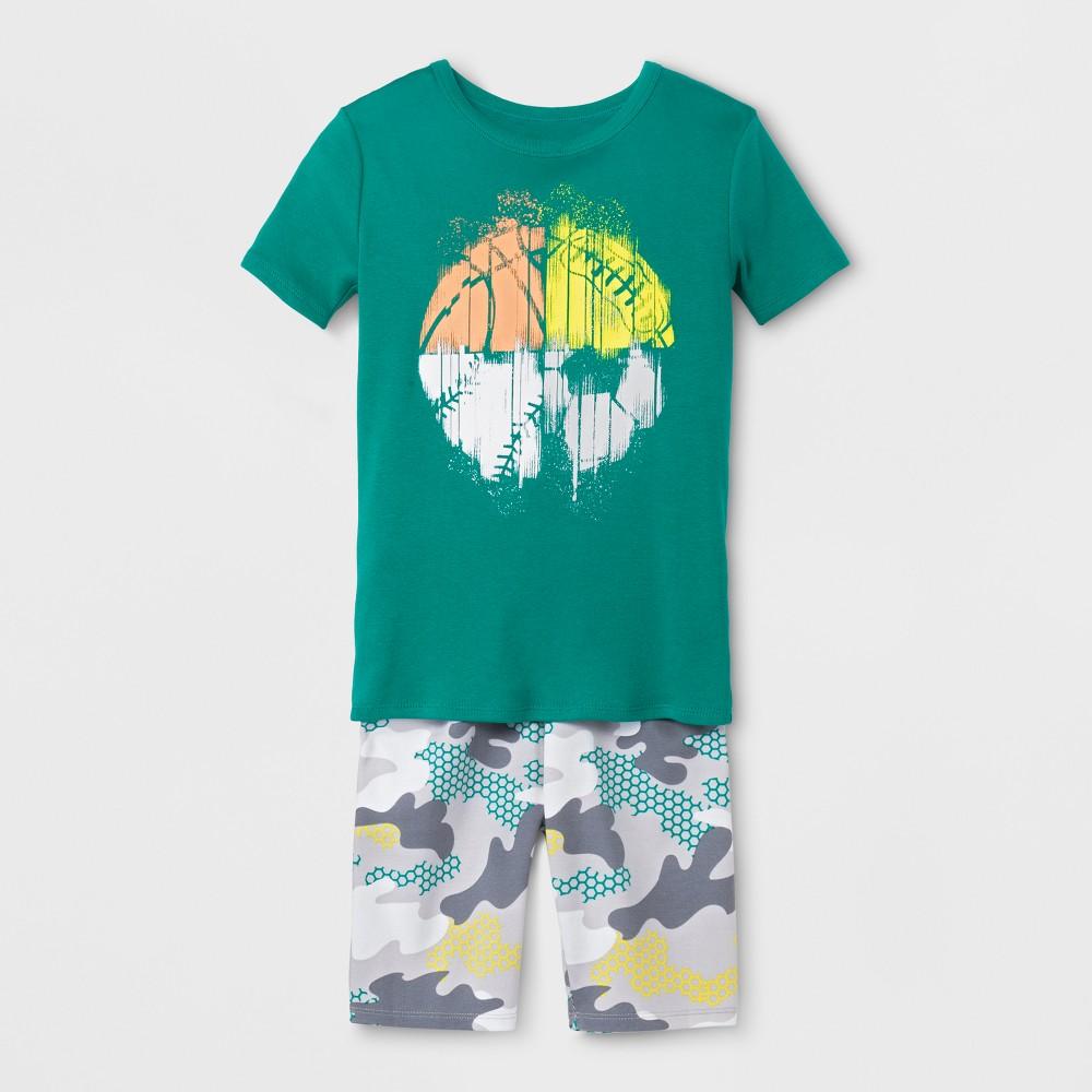 Boys' 2pc Sports Pajama Set With Shorts - Cat & Jack Green 6