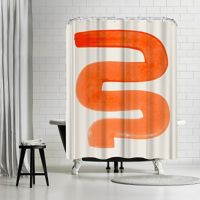 """Americanflat Orange Unsure by Ejaaz Haniff 71"""" x 74"""" Shower Curtain"""
