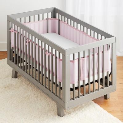Breathable Baby Solid Mesh Crib Liner - Pink, Light Pink