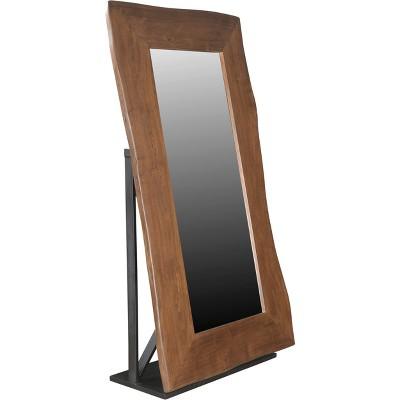 Natural Live Edge Adjustable Floor Mirror Honey Brown   Treasure Trove