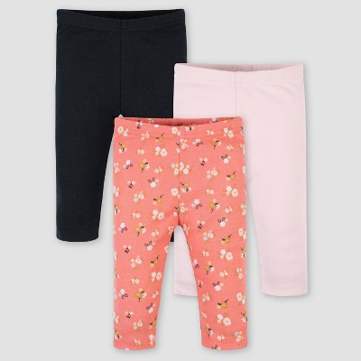 Gerber Baby Girls' 3pk Ballerina Pull-On Pants - Pink 3-6M