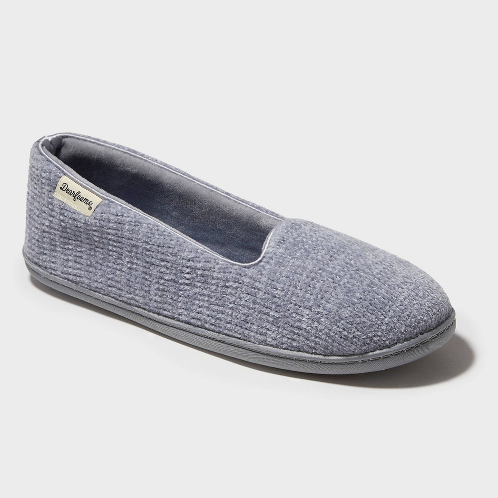 Image of Women's Dearfoams Chenille Closed-Back Loafer Slippers - Sleet Gray L (9-10), Size: Large (9-10)