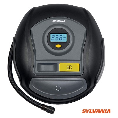 Sylvania Plus Portable Tire Inflator with Auto Stop, LED Digital Display and Carrying Case for Sports Balls, Vehicle Tires, Bike Tires