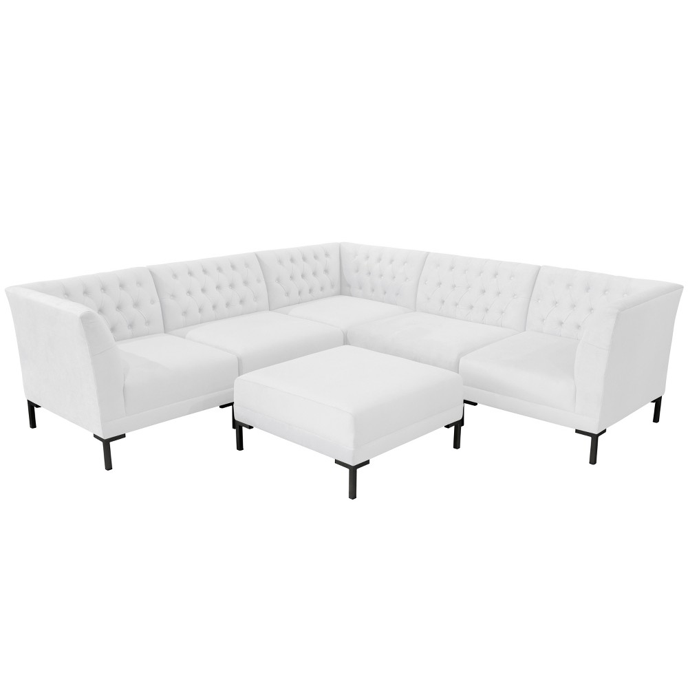 6pc Audrey Diamond Tufted Sectional White Velvet and Black Metal Y Legs - Cloth & Co.