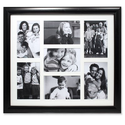 "4""x6"" Seven Photo Matted Black Collage Frame - Lawrence Frames"