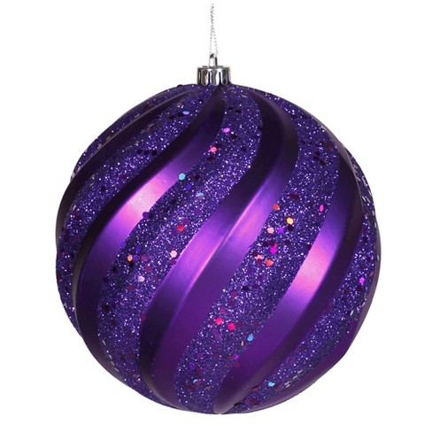 "6"" Purple Matte/Glitter Swirl Ball Christmas Ornament - image 1 of 1"