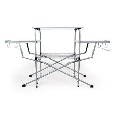 Camco Deluxe Folding Portable Outdoor Steel Aluminum Grill Table Cart with Side Tables, Hooks, and Storage Carrying Case for Camping and Tailgating