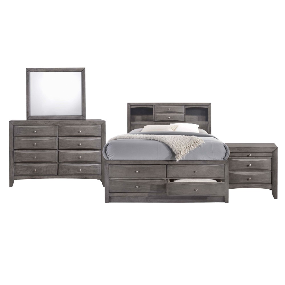 Madison King Storage 4pc Bedroom Set Gray - Picket House Furnishings