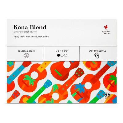 Kona Blend Light Roast Coffee - Single Serve Pods- 36ct - Archer Farms™