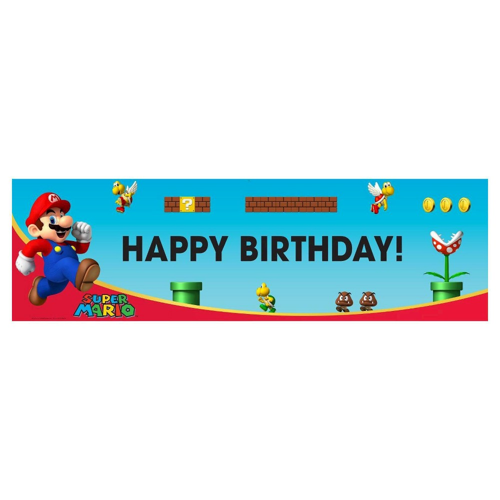 Super Mario Brothers Birthday Banner