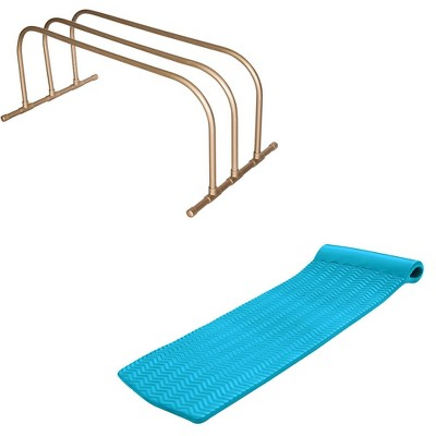 TRC Recreation PVC Pool Float Storage Drying Rack w/ Lounger Tropical Teal