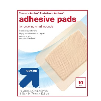 Large Adhesive Pad Flexible Fabric Bandages - 10ct - Up&Up™ (Compare to Band-Aid Brand Adhesive Bandages)