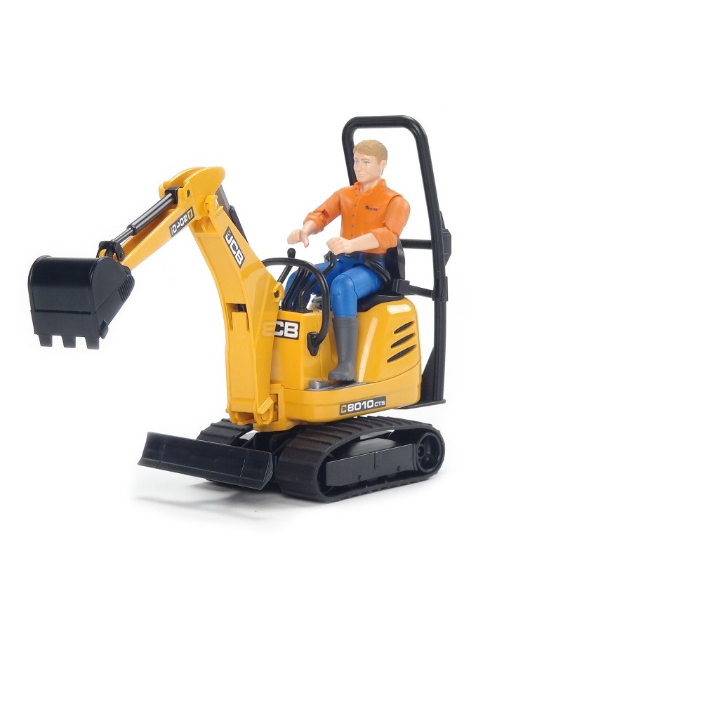 Bruder Toys Jcb Micro Excavator 8010 Cts and Construction Worker - 1/16 Scale Realistic - Functional Toy Construction Vehicle