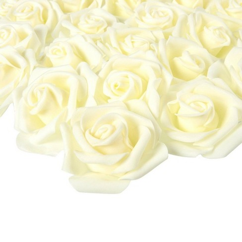Juvale Rose Flower Heads - 100-Pack Artificial Roses, Perfect Wedding Decorations, Baby Showers, Crafts - Off White, 3 X 1.25 X 3 inches - image 1 of 3