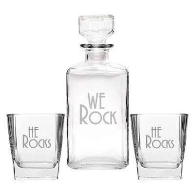 3ct He Rocks Wedding Decanter & Glass Set