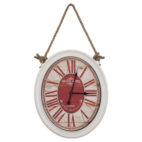 Hanging Oval Wall Clock White/Cream/Red - Yosemite Home Decor® - image 1 of 3