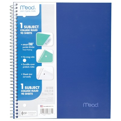 Spiral Notebook 1 Subject College Ruled Assorted Colors - Mead