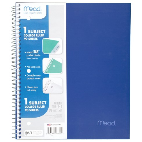 Spiral Notebook 1 Subject College Ruled Assorted Colors - Mead - image 1 of 4