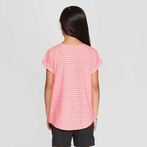f5e3fc17175 Girls  Short Sleeve Stripe Pocket T-Shirt - Cat   Jack™ Pink   Target