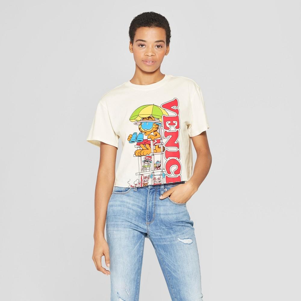 Women's Garfield Short Sleeve T-Shirt - (Juniors') Cream S, Beige