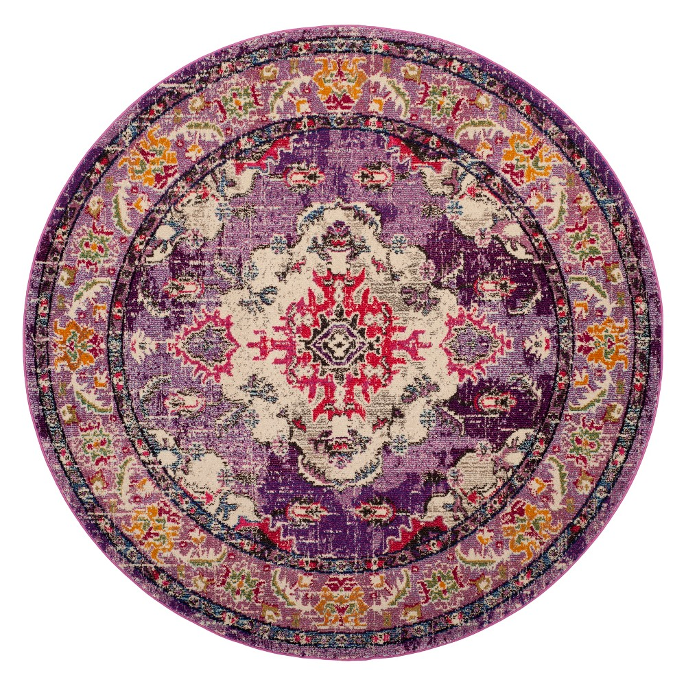 6'7 Medallion Round Area Rug Violet/Fuchsia (Purple/Pink) - Safavieh