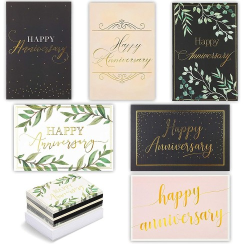 48-Pack Happy Anniversary Cards in 6 Elegant Designs, Gold Foil, Envelopes Included, 4 x 6 inches - image 1 of 4