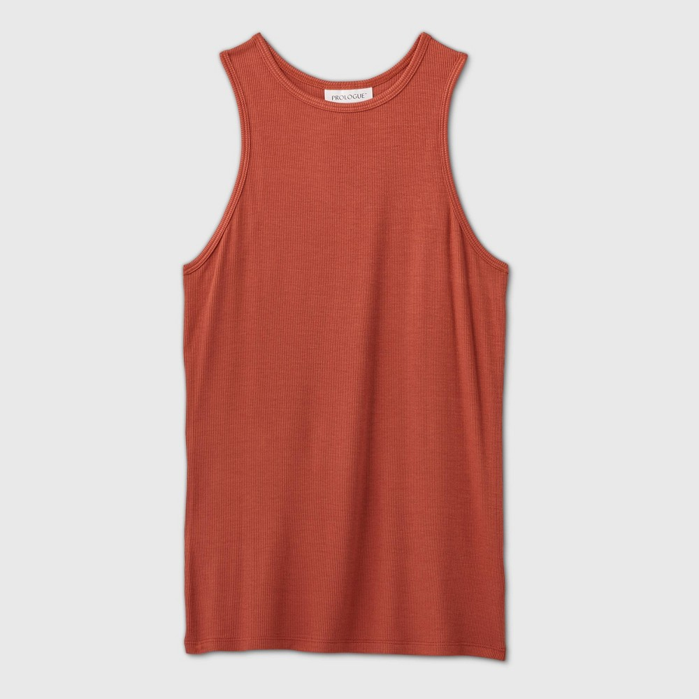 Rib-knit tank top made from a lightweight fabric for comfort. Cut in a fitted silhouette that falls below the hip, and a round neckline completes the look. Size: XXL. Color: Brown. Gender: female. Age Group: adult. Pattern: Solid. Material: Rayon.