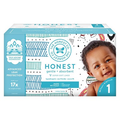 The Honest Company Disposable Diapers Teal Tribal & Space Travel - Size 1 (80ct)