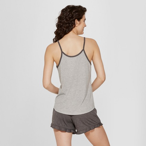 27e94e999002 Women s Peanuts Snoopy Tank Top and Shorts Pajama Set - Gray S   Target