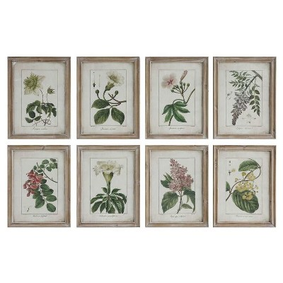 Flower Framed Wall Art Natural 18.125 x13.75  8pk - 3R Studios