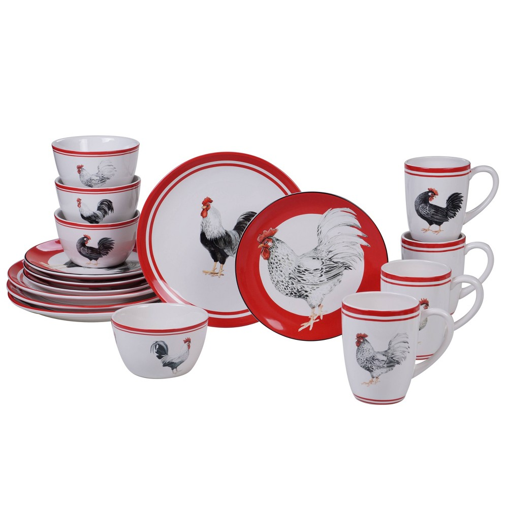 Image of 16pc Earthenware Homestead Rooster Dinnerware Set White - Certified International, White Red Black