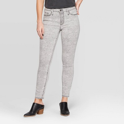Women's Snakeskin Print High-Rise Skinny Jeans - Universal Thread™ Light Gray