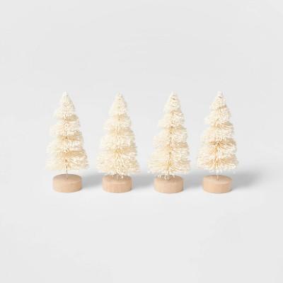4pk Glitter Bottle Brush Christmas Tree Set Natural - Wondershop™