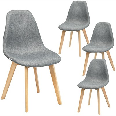 Costway Set of 4 Dining Chair Fabric Cushion Seat Modern Mid Century W/Wood Legs Grey