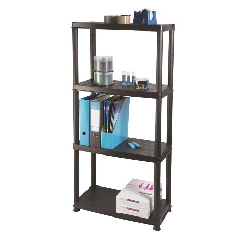 Ram Quality Products Primo 12 inch 4-Tier Plastic Storage Shelves, Black - image 1 of 3
