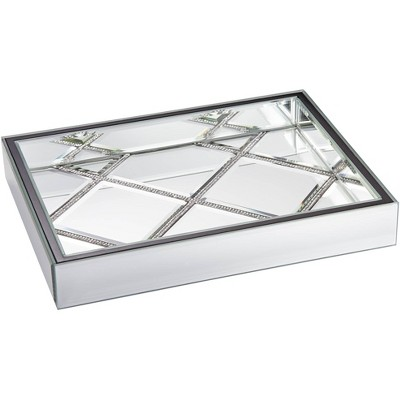 "Studio 55D Suprema 10 1/2"" Wide Rhinestone Square Mirrored Tray"