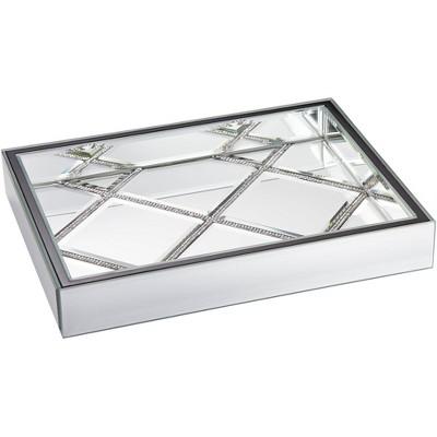 """Studio 55D Suprema 10 1/2"""" Wide Rhinestone Square Mirrored Tray"""