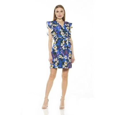 Alexia Admor Ada Ruffle Slv Wrap Dress With Waist Tie