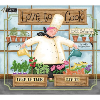 """2022 Wall Calendar 12 Month 13.4""""x24"""" Love to Cook - Lang"""
