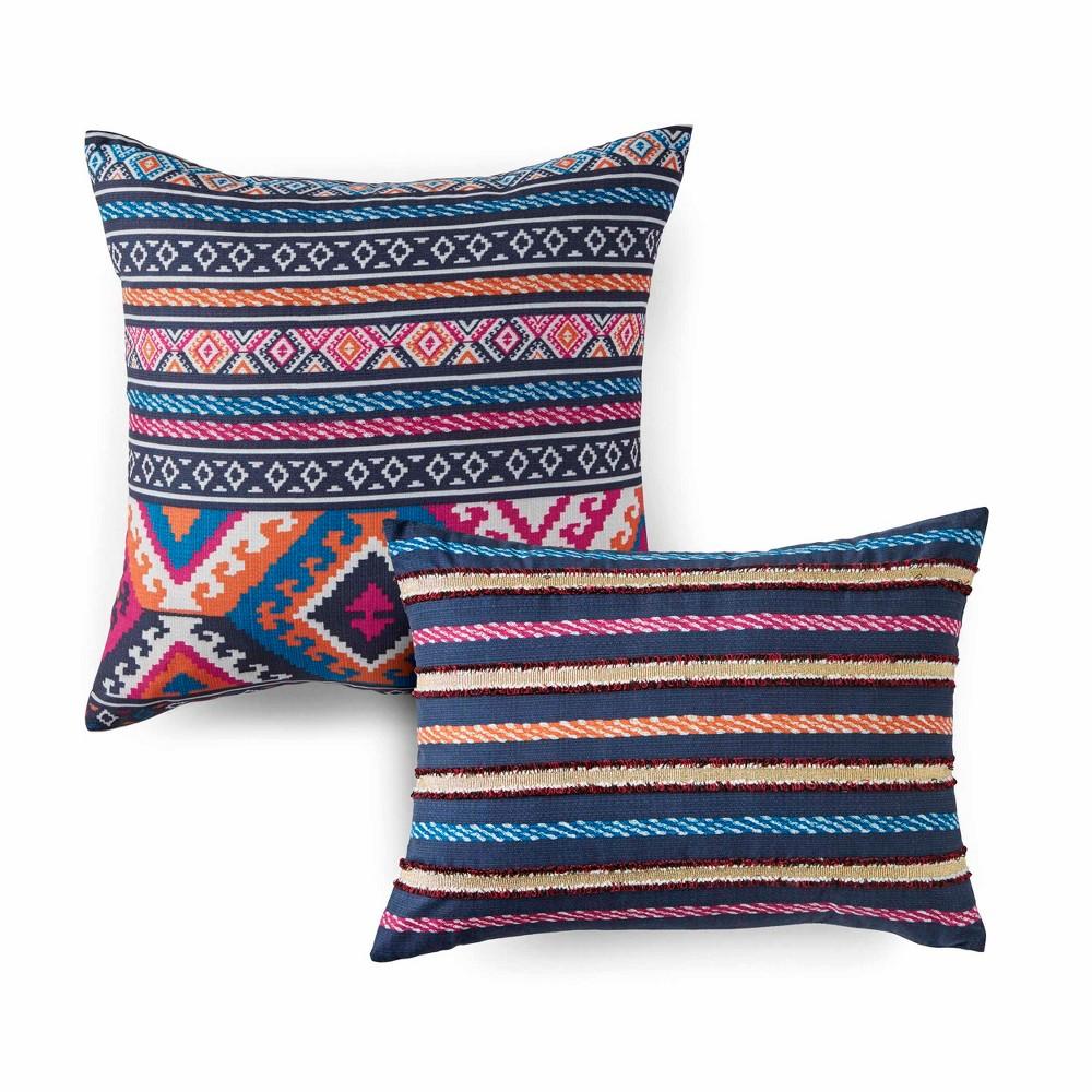 Image of 2pc Kilim Stripe Throw Pillow Set Indigo - Azalea Skye