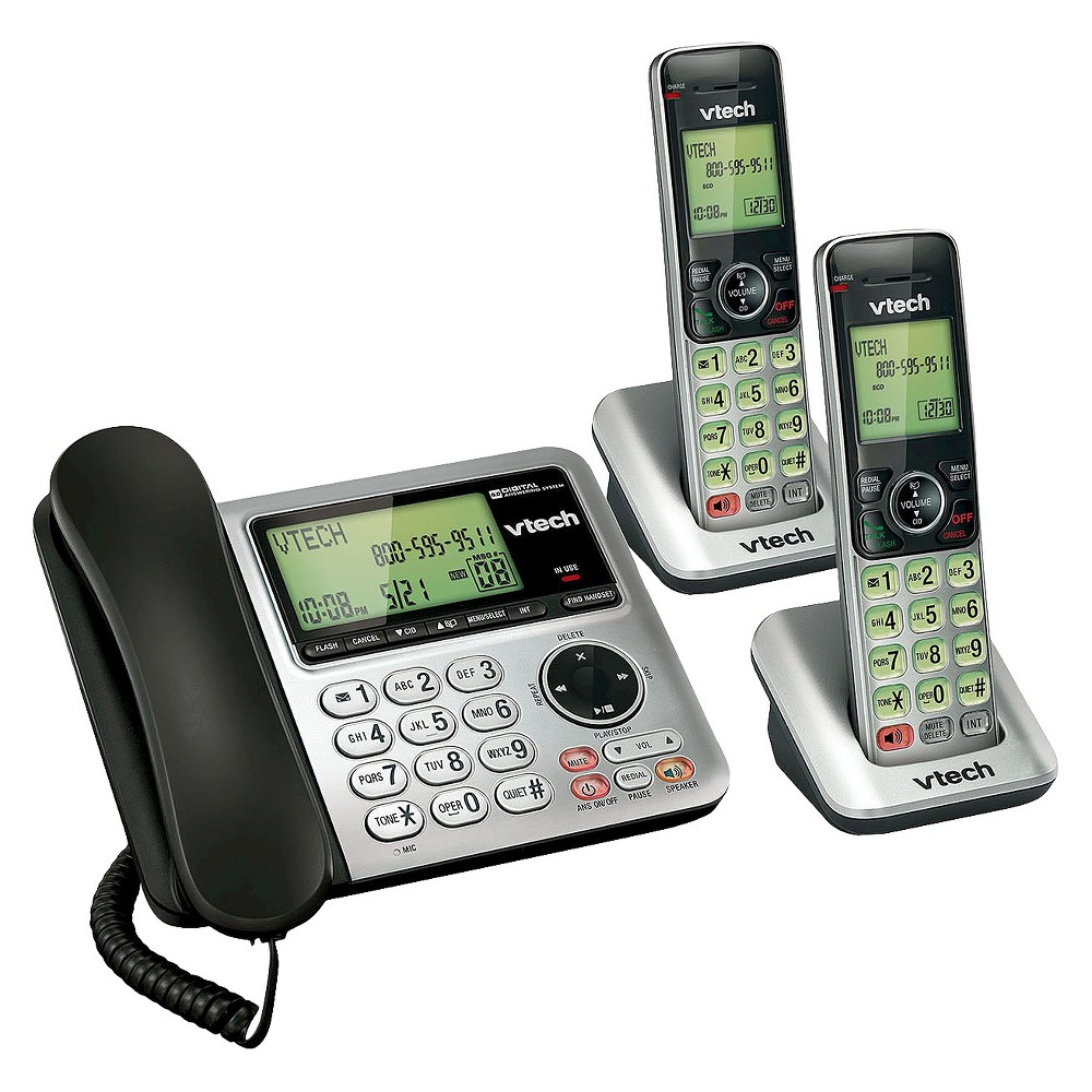 Vtech Cs6649 2 Dect 6 0 Expandable Corded Cordless Phone With Answering Machine 2 Handsets Silver