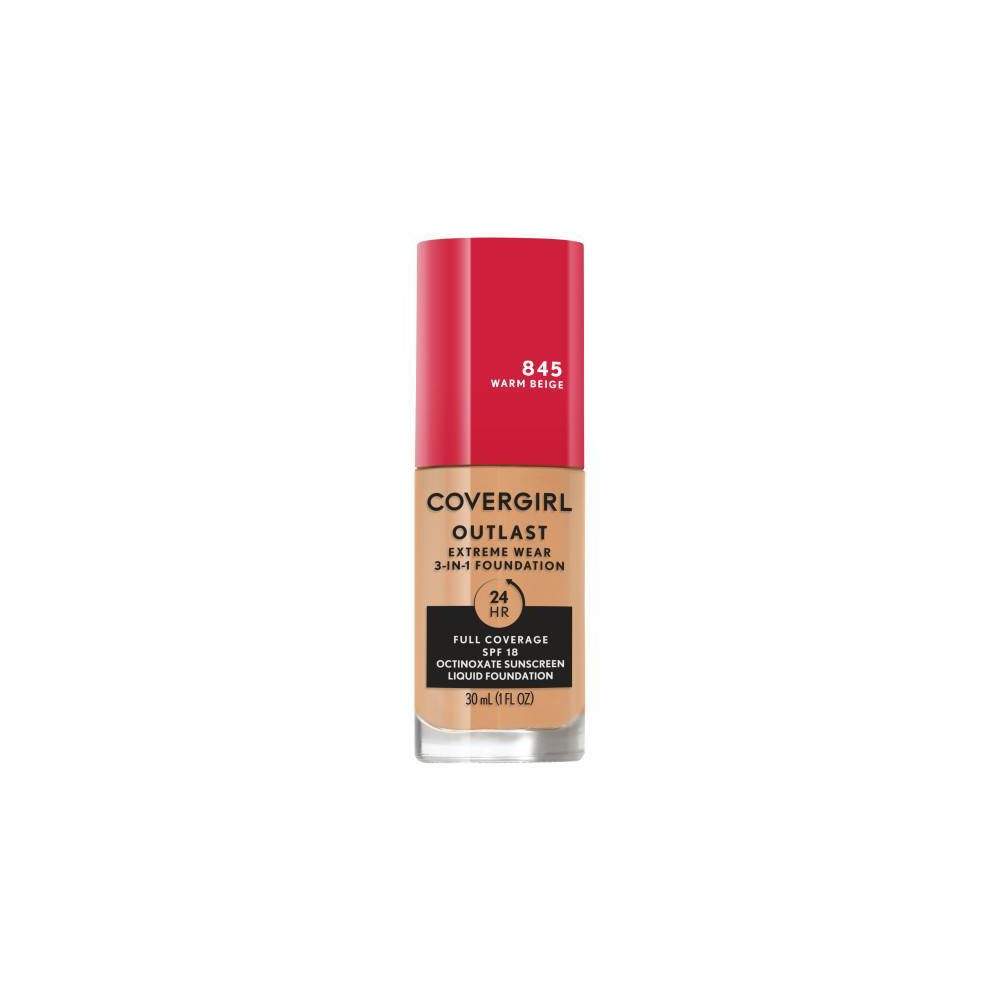 Covergirl Outlast Extreme Wear 3 In 1 Foundation With Spf 18 845 Warm Beige 1 Fl Oz