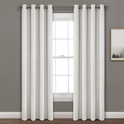 52 x95  Faux Linen Absolute Blackout Grommet Top Single Window Curtain Panel White - Lush Décor