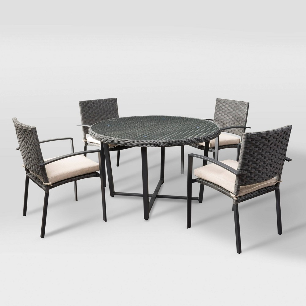 Parkview 5pc Patio Dining Set - Charcoal Gray/Beige - CorLiving