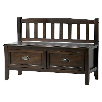 Portland Solid Wood Entryway Storage Bench With Drawers ...