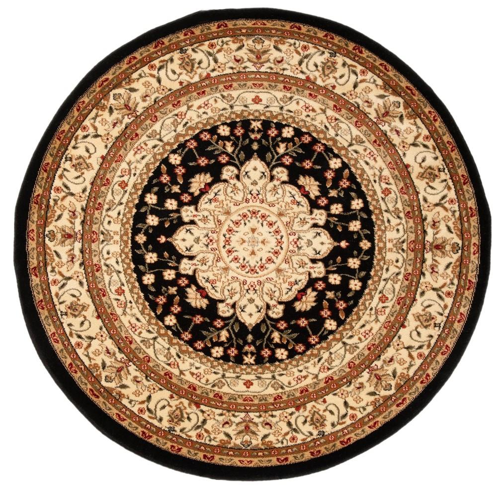 5'3 Floral Loomed Round Area Rug Black/Ivory - Safavieh