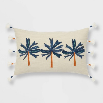 Embroidered Triple Palm Tree Lumbar Throw Pillow - Opalhouse™