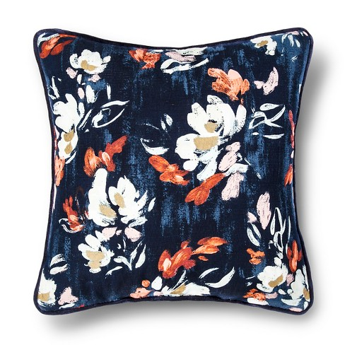 "Blue Brush Stroke Floral Square Throw Pillow (18""x18"") - Threshold™ - image 1 of 1"