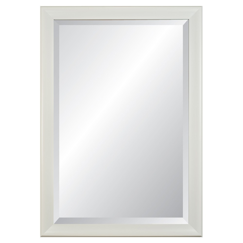 "Image of ""21 x 27"""" Concept White 2.5"""" Wide Framed Beveled Glass Wall Mirror - Alpine Art and Mirror"""